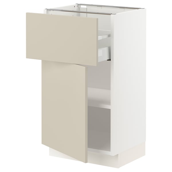 "SEKTION / MAXIMERA Base cabinet with drawer/door, white/Havstorp beige, 18x15x30 """
