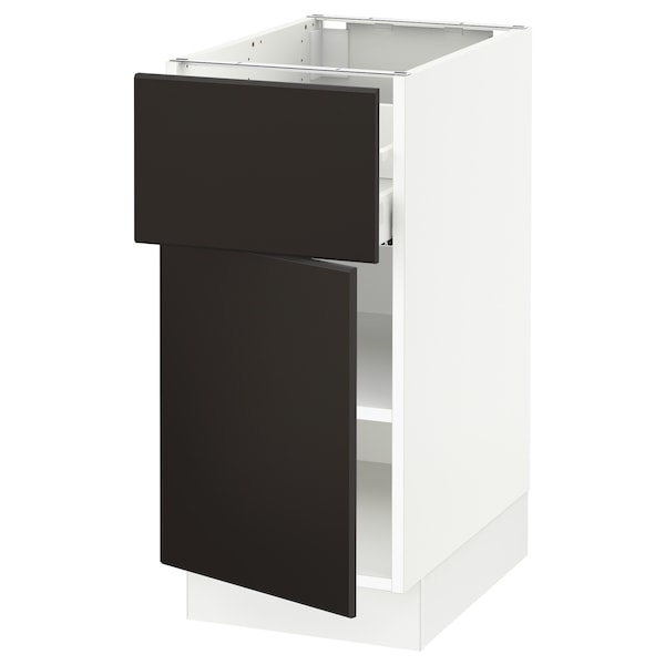 """SEKTION / MAXIMERA Base cabinet with drawer/door, white/Kungsbacka anthracite, 15x24x30 """""""