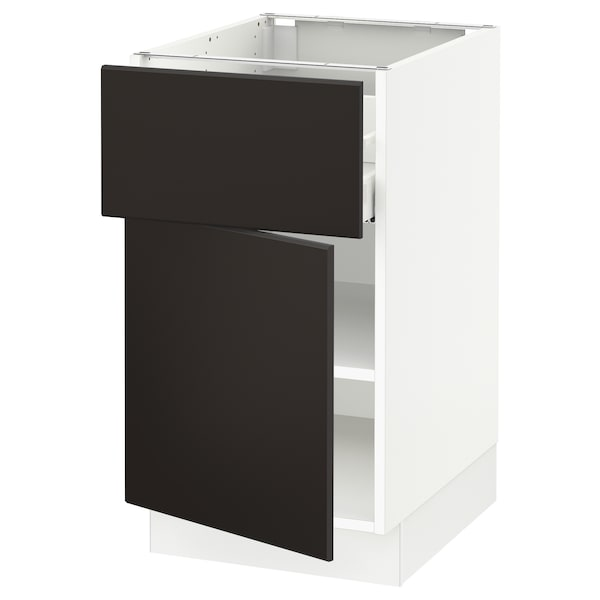 """SEKTION / MAXIMERA Base cabinet with drawer/door, white/Kungsbacka anthracite, 18x24x30 """""""