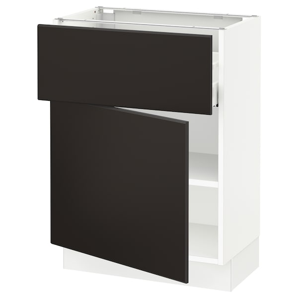 """SEKTION / MAXIMERA Base cabinet with drawer/door, white/Kungsbacka anthracite, 24x15x30 """""""