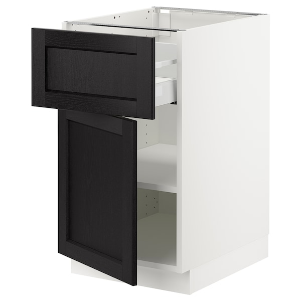 SEKTION / MAXIMERA Base cabinet with drawer/door, white/Lerhyttan black stained, 18x24x30 ""