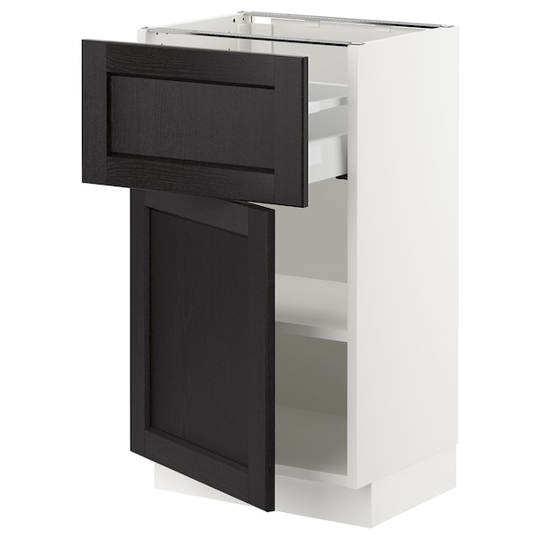 "SEKTION / MAXIMERA Base cabinet with drawer/door, white/Lerhyttan black stained, 18x15x30 """