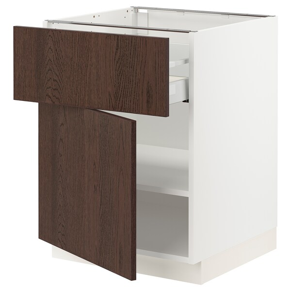 SEKTION / MAXIMERA Base cabinet with drawer/door, white/Sinarp brown, 24x24x30 ""