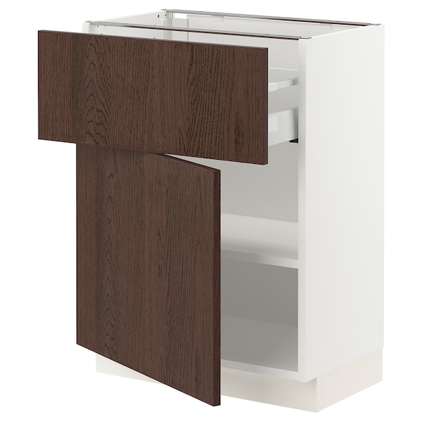 SEKTION / MAXIMERA Base cabinet with drawer/door, white/Sinarp brown, 24x15x30 ""