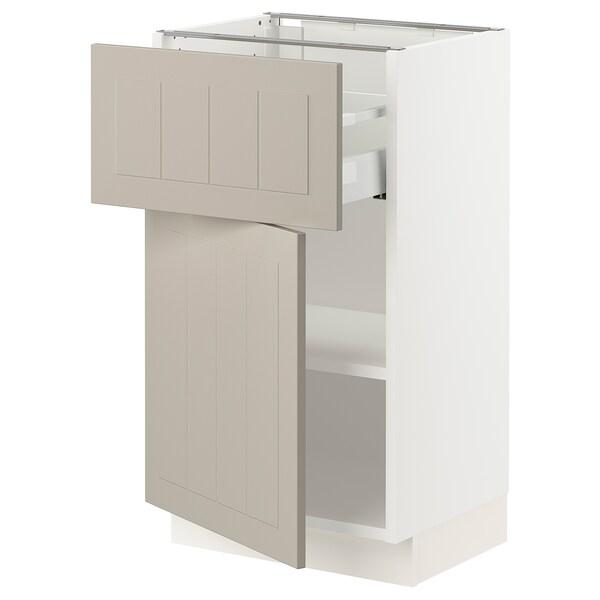 """SEKTION / MAXIMERA Base cabinet with drawer/door, white/Stensund beige, 18x15x30 """""""