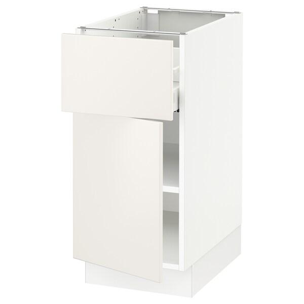 """SEKTION / MAXIMERA Base cabinet with drawer/door, white/Veddinge white, 15x24x30 """""""