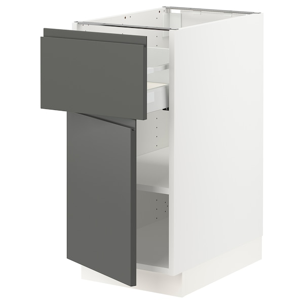 SEKTION / MAXIMERA Base cabinet with drawer/door, white/Voxtorp dark gray, 15x24x30 ""