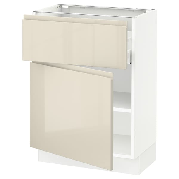 """SEKTION / MAXIMERA Base cabinet with drawer/door, white/Voxtorp high-gloss light beige, 24x15x30 """""""