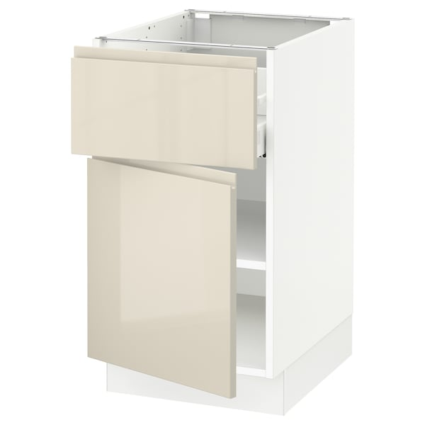 """SEKTION / MAXIMERA Base cabinet with drawer/door, white/Voxtorp high-gloss light beige, 18x24x30 """""""
