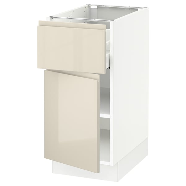 """SEKTION / MAXIMERA Base cabinet with drawer/door, white/Voxtorp high-gloss light beige, 15x24x30 """""""