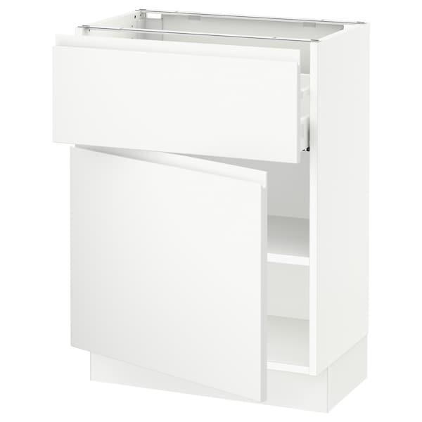 """SEKTION / MAXIMERA Base cabinet with drawer/door, white/Voxtorp matt white, 24x15x30 """""""
