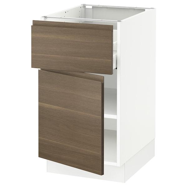 "SEKTION / MAXIMERA Base cabinet with drawer/door, white/Voxtorp walnut effect, 18x24x30 """