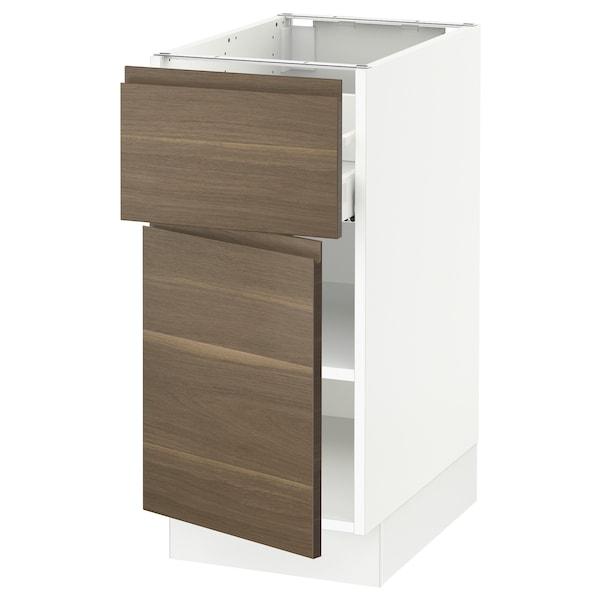 "SEKTION / MAXIMERA Base cabinet with drawer/door, white/Voxtorp walnut effect, 15x24x30 """