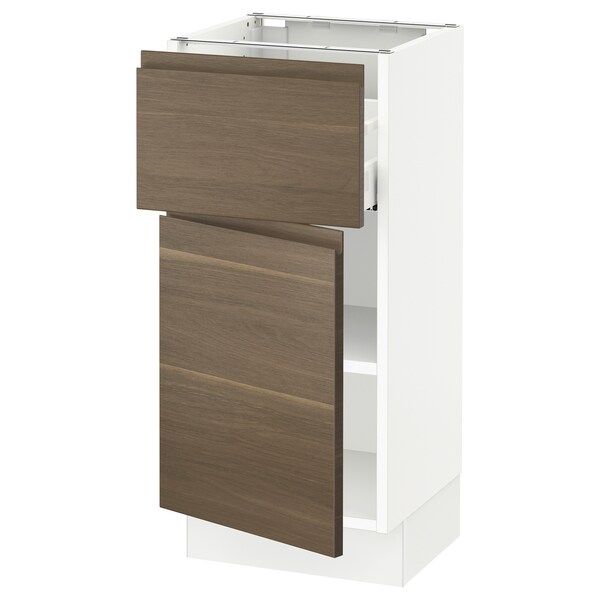 "SEKTION / MAXIMERA Base cabinet with drawer/door, white/Voxtorp walnut effect, 15x15x30 """
