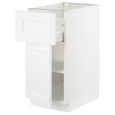 "SEKTION / MAXIMERA base cabinet with drawer/door white/Axstad matt white 15 "" 24 "" 24 3/4 "" 30 """