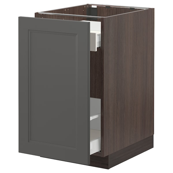 """SEKTION / MAXIMERA Base cabinet with pull-out storage, brown/Axstad dark gray, 18x24x30 """""""