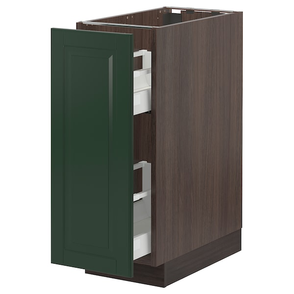 """SEKTION / MAXIMERA Base cabinet with pull-out storage, brown/Bodbyn dark green, 12x24x30 """""""