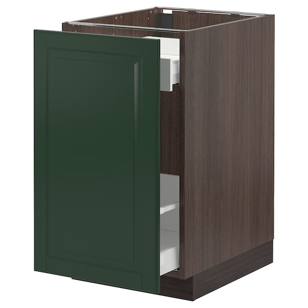 SEKTION / MAXIMERA Base cabinet with pull-out storage, brown/Bodbyn dark green, 18x24x30 ""