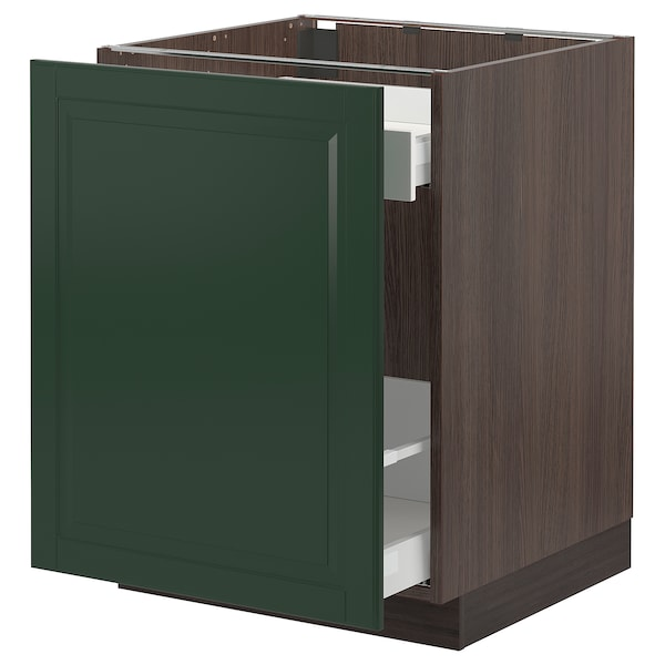 """SEKTION / MAXIMERA Base cabinet with pull-out storage, brown/Bodbyn dark green, 24x24x30 """""""