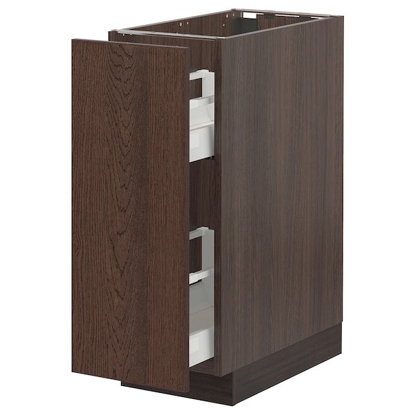 SEKTION / MAXIMERA Base cabinet with pull-out storage, brown/Sinarp brown, 12x24x30 ""
