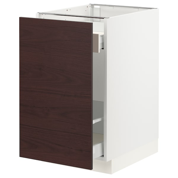 SEKTION / MAXIMERA Base cabinet with pull-out storage, white Askersund/dark brown ash effect, 18x24x30 ""