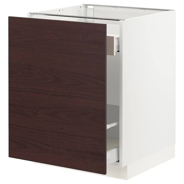 """SEKTION / MAXIMERA Base cabinet with pull-out storage, white Askersund/dark brown ash effect, 24x24x30 """""""