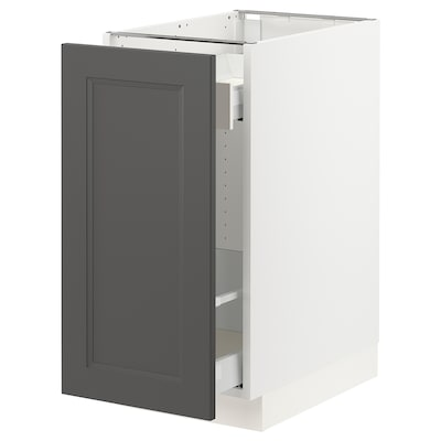 SEKTION / MAXIMERA Base cabinet with pull-out storage, white/Axstad dark gray, 15x24x30 ""