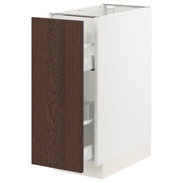 """SEKTION / MAXIMERA Base cabinet with pull-out storage, white/Sinarp brown, 12x24x30 """""""