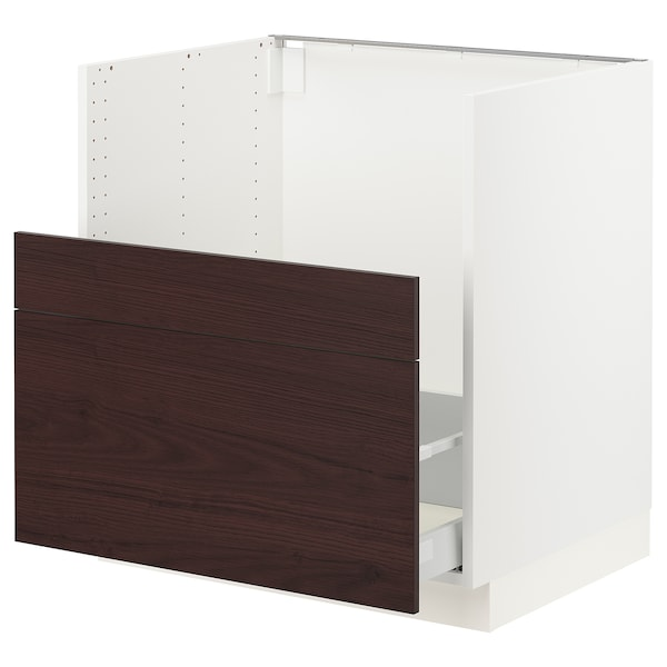 SEKTION / MAXIMERA Cabinet f/BREDSJÖN sink+2 fronts, white Askersund/dark brown ash effect, 30x24x30 ""