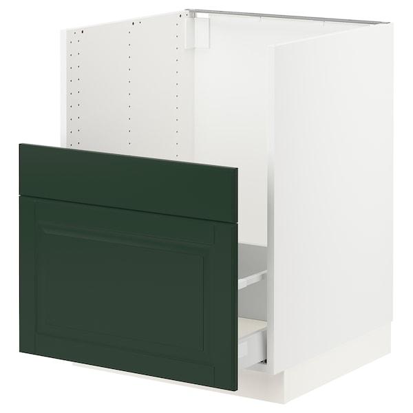 """SEKTION / MAXIMERA Cabinet f/BREDSJÖN sink+2 fronts, white/Bodbyn dark green, 24x24x30 """""""