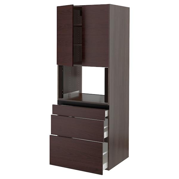 "SEKTION / MAXIMERA Hi cab f/microwave,3 drawers/2 door, brown Askersund/dark brown ash effect, 30x24x80 """