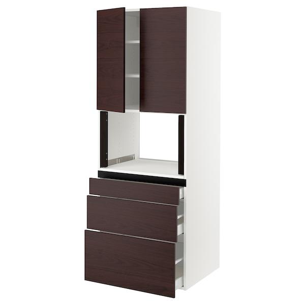 "SEKTION / MAXIMERA Hi cab f/microwave,3 drawers/2 door, white Askersund/dark brown ash effect, 30x24x80 """