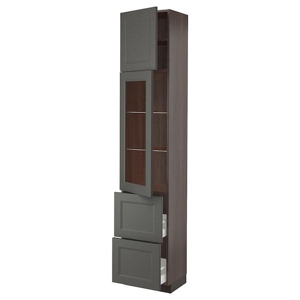 "SEKTION / MAXIMERA Hi cab w/glass door/2 drawers/1door, brown/Axstad dark gray, 18x15x90 """