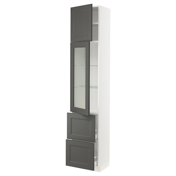 "SEKTION / MAXIMERA Hi cab w/glass door/2 drawers/1door, white/Axstad dark gray, 18x15x90 """