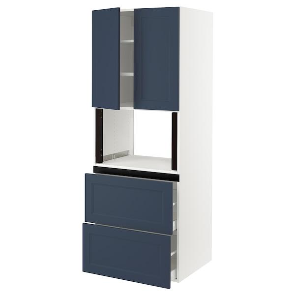 "SEKTION / MAXIMERA Hi cb f micro w 2 drawers/2 doors, white Axstad/matte blue, 30x24x80 """