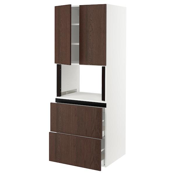 "SEKTION / MAXIMERA Hi cb f micro w 2 drawers/2 doors, white/Sinarp brown, 30x24x80 """