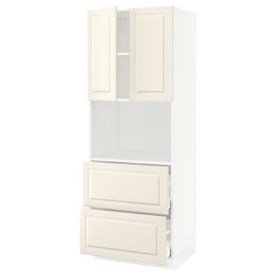 "SEKTION / MAXIMERA hi cb f micro w 2 drawers/2 doors white/Bodbyn off-white 30 "" 24 "" 24 3/4 "" 80 """