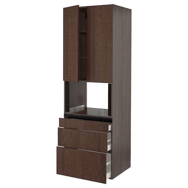 "SEKTION / MAXIMERA Hi cb f micro w 3 drawers/2 doors, brown/Sinarp brown, 30x24x90 """