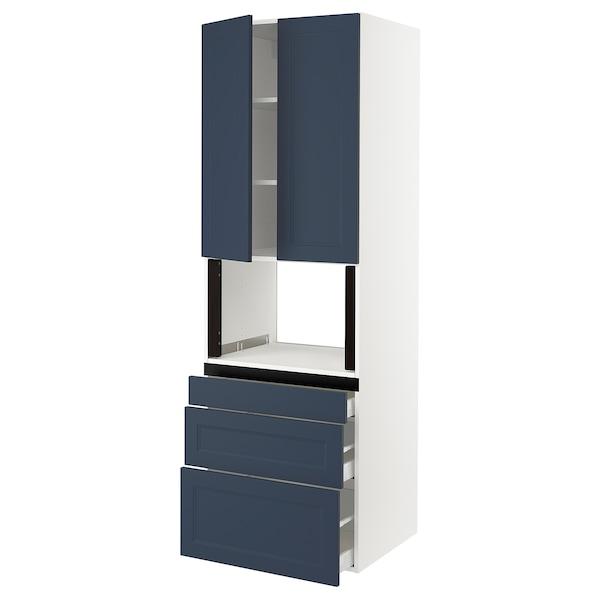 "SEKTION / MAXIMERA Hi cb f micro w 3 drawers/2 doors, white Axstad/matte blue, 30x24x90 """