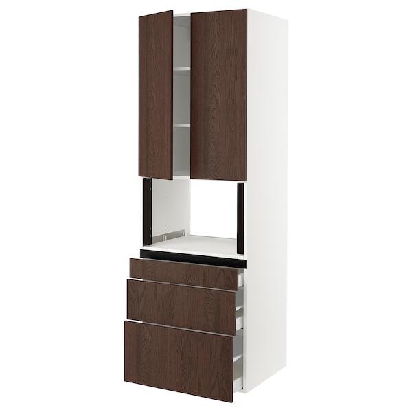 "SEKTION / MAXIMERA Hi cb f micro w 3 drawers/2 doors, white/Sinarp brown, 30x24x90 """