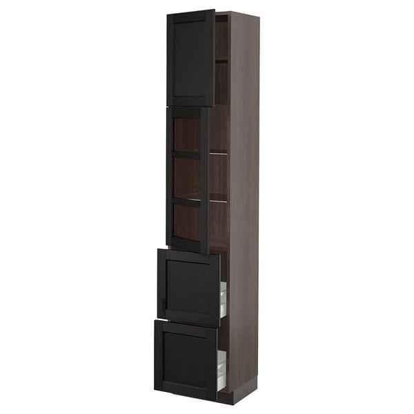 "SEKTION / MAXIMERA Hi cb w glass dr/2 drawers/1 door, brown/Lerhyttan black stained, 15x15x80 """