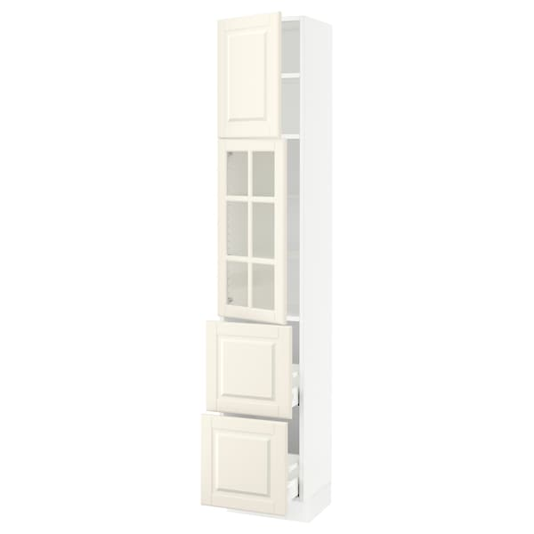SEKTION / MAXIMERA Hi cb w glass dr/2 drawers/1 door, white/Bodbyn off-white, 15x15x80 ""