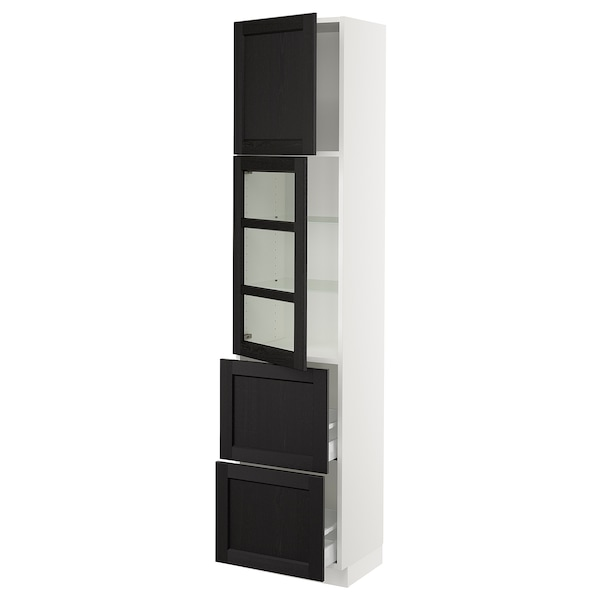 "SEKTION / MAXIMERA Hi cb w glass dr/2 drawers/1 door, white/Lerhyttan black stained, 18x15x80 """