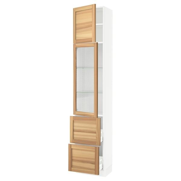"SEKTION / MAXIMERA Hi cb w glass dr/2 drawers/1 door, white/Torhamn ash, 18x15x90 """
