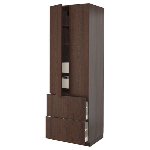 """SEKTION / MAXIMERA High cab w 2drs/2 fronts/4 drawers, brown/Sinarp brown, 30x24x90 """""""