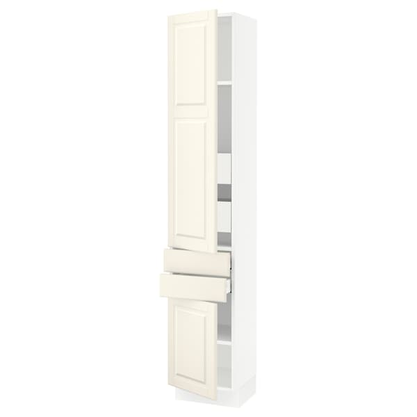 SEKTION / MAXIMERA High cab w 2drs/2 fronts/4 drawers, white/Bodbyn off-white, 15x15x80 ""