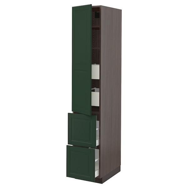 "SEKTION / MAXIMERA High cab w door/2 fronts/4 drawers, brown/Bodbyn dark green, 15x24x80 """