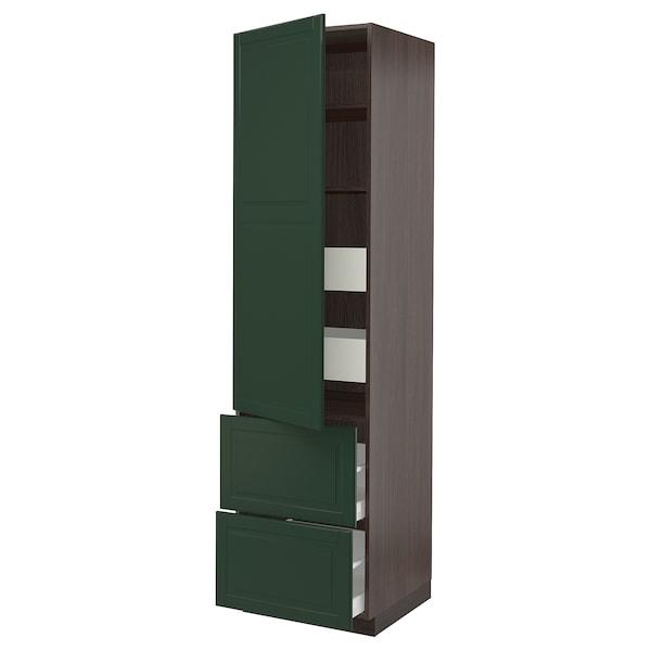 "SEKTION / MAXIMERA High cab w door/2 fronts/4 drawers, brown/Bodbyn dark green, 24x24x90 """