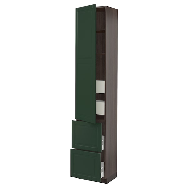 SEKTION / MAXIMERA High cab w door/2 fronts/4 drawers, brown/Bodbyn dark green, 18x15x90 ""
