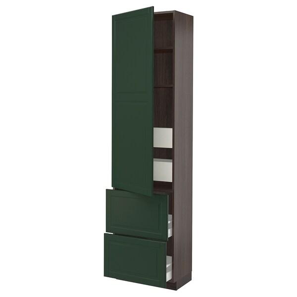 "SEKTION / MAXIMERA High cab w door/2 fronts/4 drawers, brown/Bodbyn dark green, 24x15x90 """